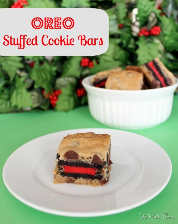 Oreo Stuffed Cookie Bars from www.thepinkflour.com