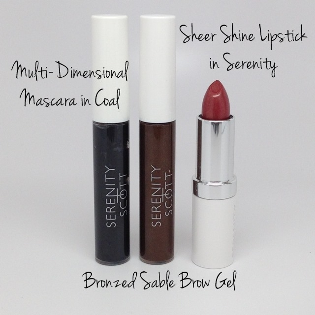 Serenity+Scott Multi-Dimensional Mascara, Bronzed Sable Brow Gel and Sheer Shine Lipstick in Serenity