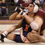 125: #5 Jesse Delgado (Illinois) dec #12 David Thorn (Minnesota) 6-3. Photo by Mark Beshey.