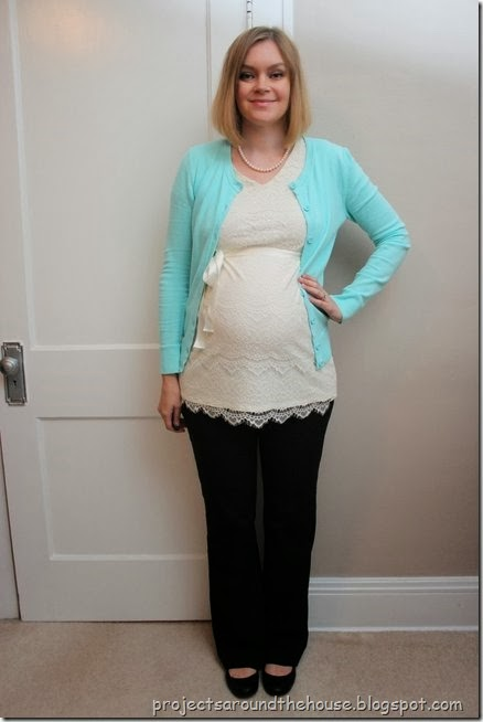 lace top, blue cardigan, black pants