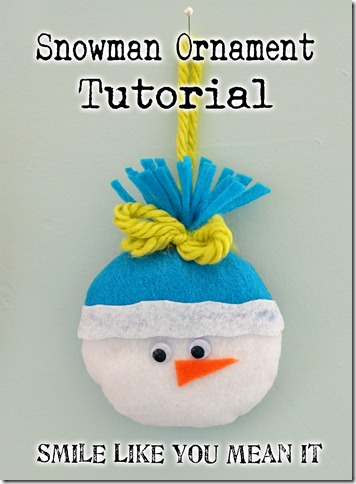 Felt Snowman Christmas Ornament Tutorial