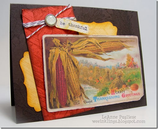LeAnne Pugliese WeeInklings ColourQ214 Truly Grateful Vintage Thanksgiving Card