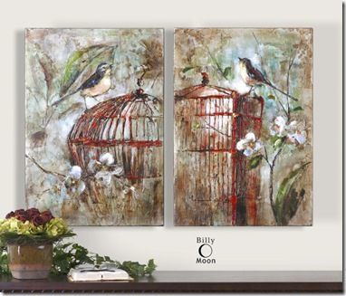 34226_1_BIRDS IN A CAGE 1 11 S OF 2 artwork over day bed in bedroom no3 250 00 Uttermost