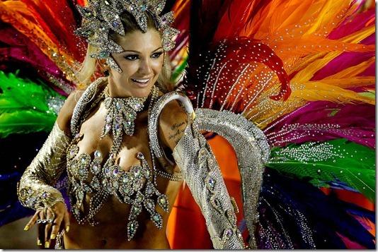 A dancer from the Mocidade samba school performs at the Sambadrome in Rio de Janeiro. (Felipe Dana/Associated Press)