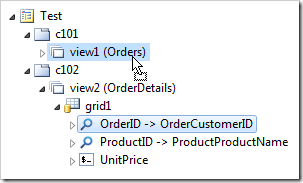 Dropping a primary key data field onto the master data view.