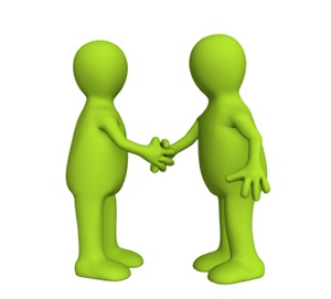 Shake hand  of two 3d stylized people of green color