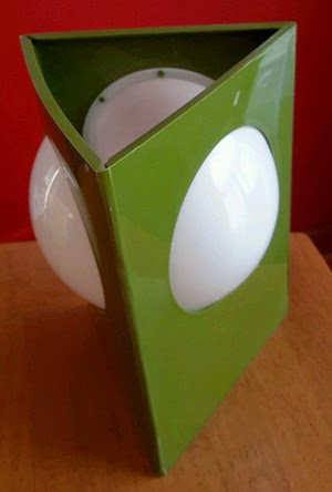 avocado green plastic triangle lamp