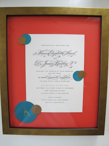 My friend Emily framed the invitation, which kicked off the celebration!