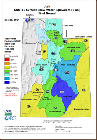 UT Snowpack map - 26 Dec 2014
