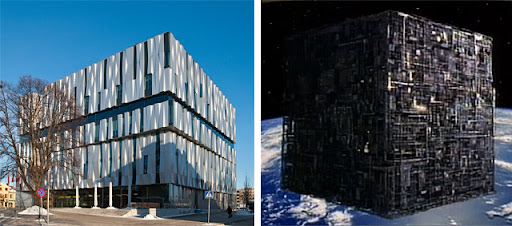Uppsala Konsert & Kongress byggnad och en Borg Cube