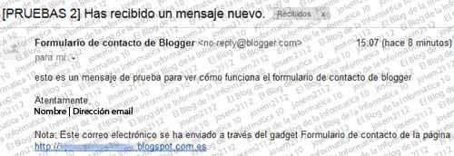 Formulario de contacto en Blogger  - texto email del formulario de contacto
