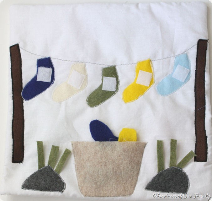 Quiet book clothesline felt socks