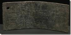 tablilla de bronce hallada en el foro de Ilici - Yacimiento de la Alcudia