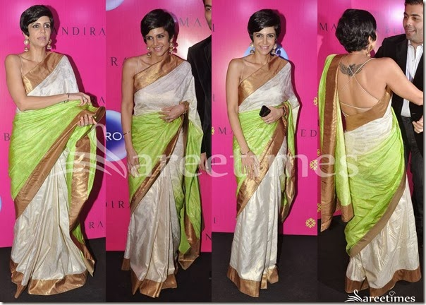 Mandira_Bedi_White_Green_Dual_Color_Saree