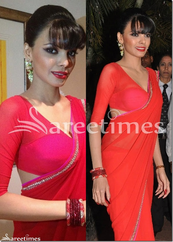 Sherlyn_Chopra_Red_Saree