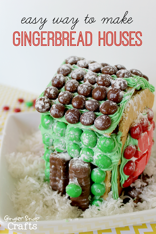 Easy Way to Make Gingerbread Houses at GingerSnapCrafts.com #HolidayMM #shop #cbias #kidcraft #holiday