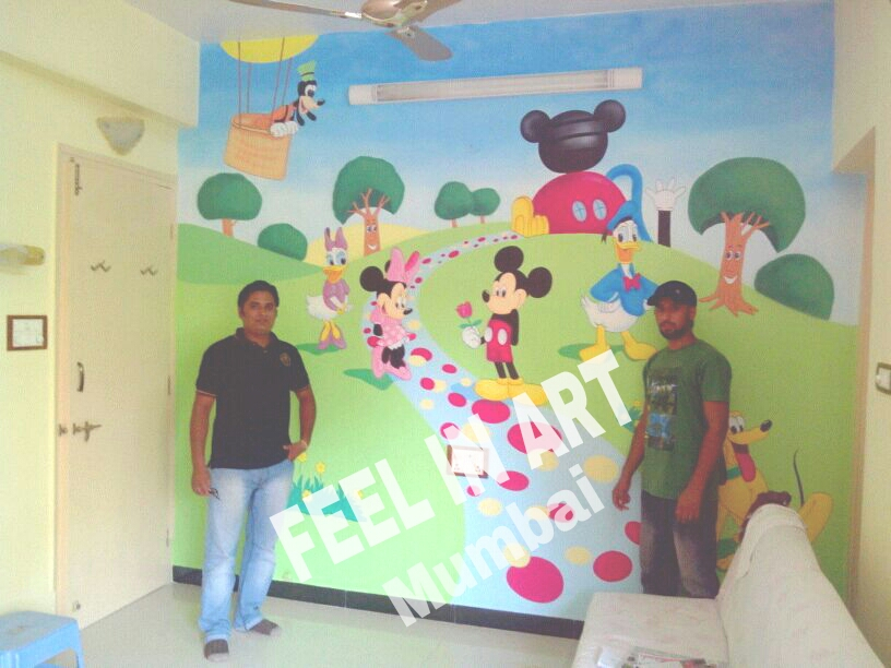 Wall Painting Mumbai: MICKEY MOUSE CLUB HOUSE THEME WALL PAINTING Part 90