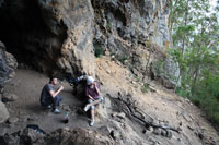 Ned & Bronwen eating at the mouth of a cave en route to The Steamers