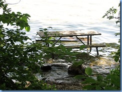 4698 McRae Point Provincial Park Water's Edge Trail - picnic table in Lake Simcoe