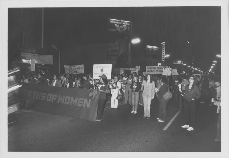 Crowd in the streets at the Women Take Back the Night march. April 19, 1980.