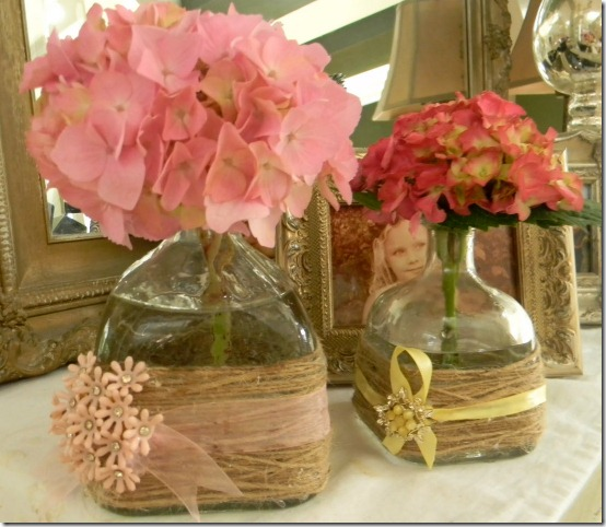 diy projects with jute--wind jute around a flower vase and add ribbon and flowers