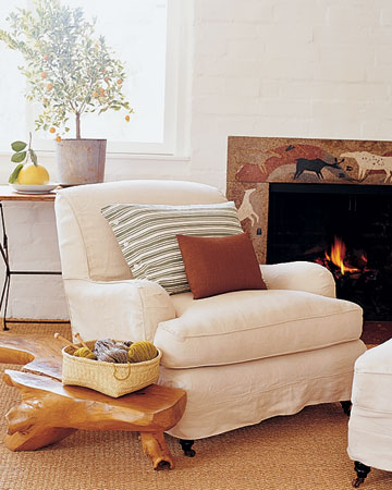 I love how linen-covered furniture can still feel fresh and appropriate in winter.