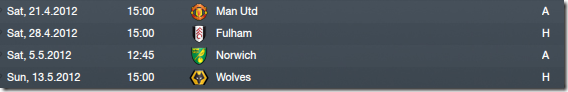 Four last fixtures in the first season