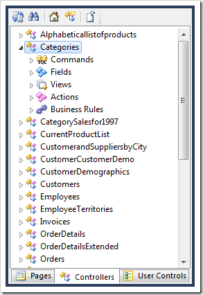 Controllers tab in the Project Explorer.