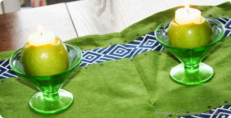 Green and Navy Tablescape-Bargain Decorating with Laurie