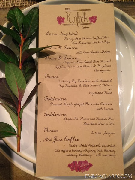 place setting & dinner menu