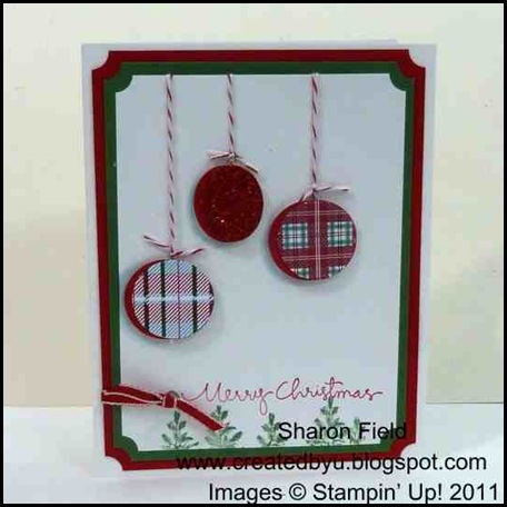dangling_ornament, card, rubber_stamping, frostwood_lodge, dsp, designer_series_paper, bakers_twine, christmas, cas, clean_and_simple, super_saturday, tutorial, createdbyu, sharon_field, blogspot, dimensionals, shading, light_source, aqua_painter
