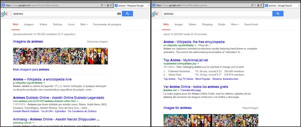 Pesquisa no Google em português do Brasil e pesquisa no Google em inglês