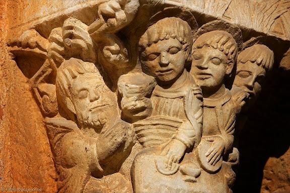 Teofania de Mambre, capitells romànics, historiats, del claustre de la catedral de Tarragona,Tarragona, Tarragonès, Tarragona