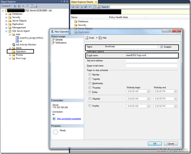 SQL Yoga Configure notification to send an email when JOB fails, create Operator #2