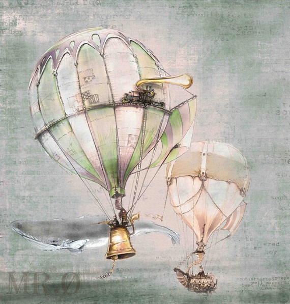 Steampunk Hot Air Ballon Art from theFiligree on Etsy 2