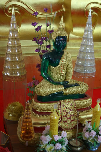 A Jade buddha, not as famous as the Emerald Buddha, which is also made of jade. Go figure.