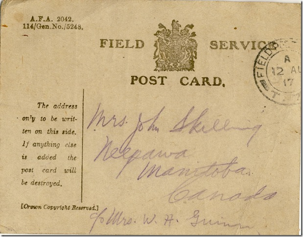 10 Aug 1917 Card Back