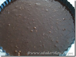pour chocolate batter into pan
