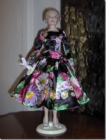 Grace Kelly Black Print Dress 9