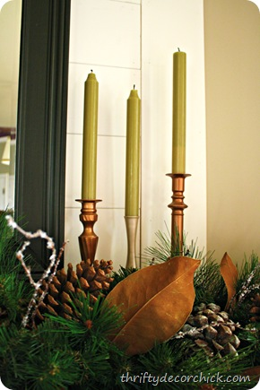 copper Christmas mantel 