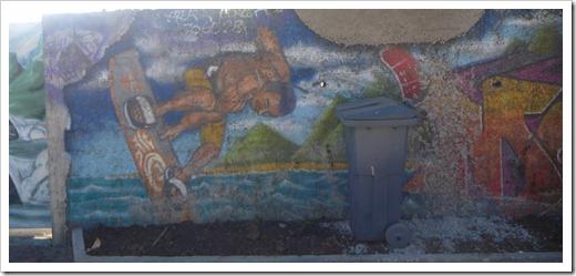 Kiteboarding mural in Tahiti