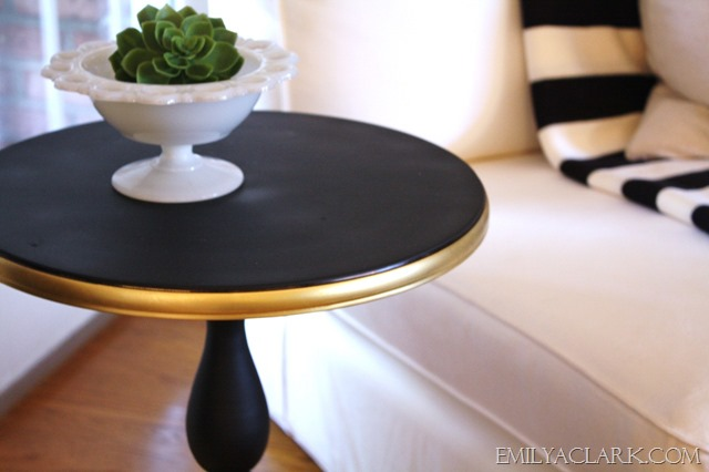 black and gold side table makeover