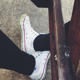 last day by Agne Kriauciunaite - Artistic Objects Clothing & Accessories ( work, shoes, wood, sadness, converse, job )