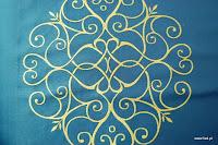 """Luksusowa trudnopalna tkanina z haftem. """"Tafta"""" butikowa. Na zasłony, poduszki, narzuty, dekoracje. Niebieska, złota."""
