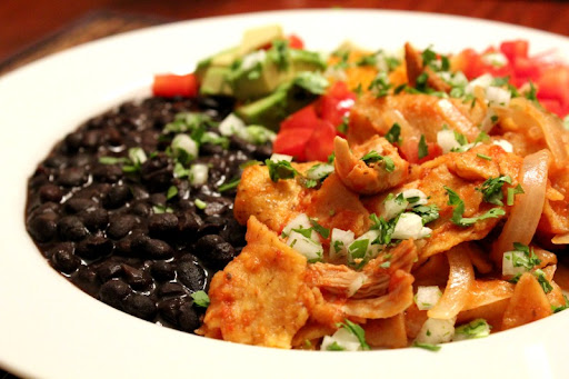 Chicken Chilaquiles with Saucy Black Beans