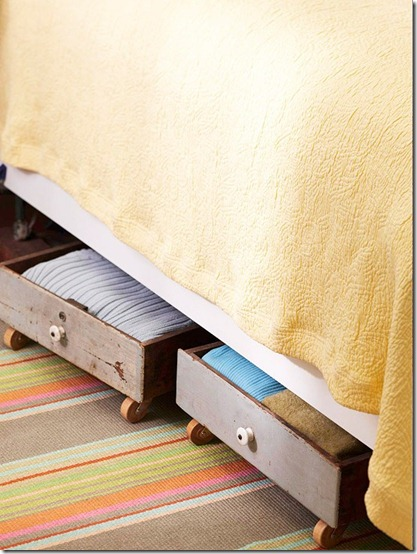 repurposed drawers under bed storage