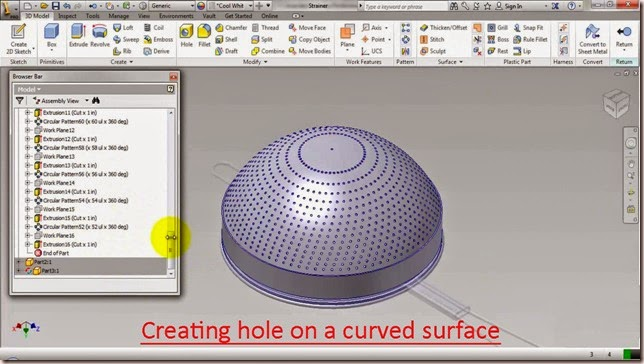 Creating hole on a curve surface