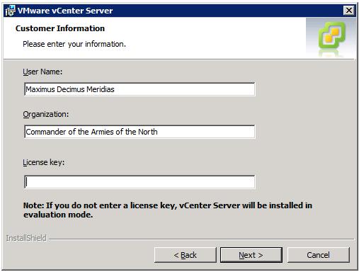 VMware vCenter Server Installer - Customer Information