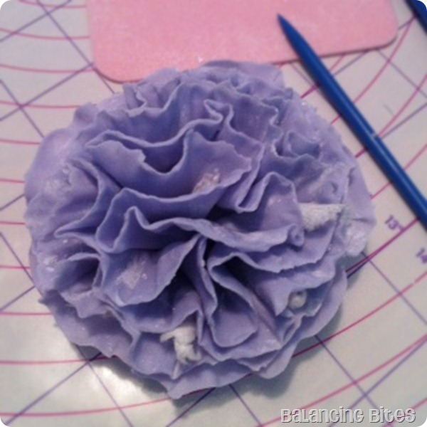 Purple Ruffled Gum Paste Flower