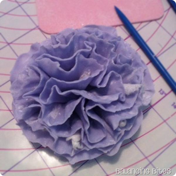 Purple Ruffled Gum Paste Flower